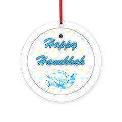 Happy Hanukkah Dove Keepsake (Round Ornament)
