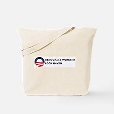 Democracy Works in LOCK HAVEN Tote Bag