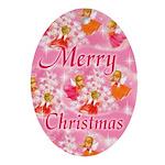 Pink Christmas Angels Keepsake (Oval Ornament)