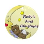 Baby's First Christmas (bear) (Round Ornament)