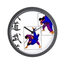 Budo Judo on White Wall Clock