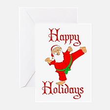 Karate Kicking Santa Greeting Cards (Pk of 20)