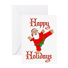 Karate Kicking Santa Greeting Card