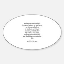 MATTHEW 19:29 Oval Decal