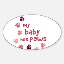 My Baby has Paws Oval Decal