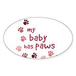 My Baby has Paws Oval Sticker (50 pk)