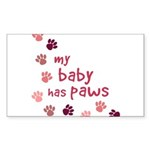 My Baby has Paws Rectangle Sticker 10 pk)