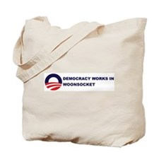 Democracy Works in WOONSOCKET Tote Bag