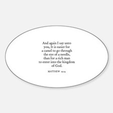 MATTHEW 19:24 Oval Decal