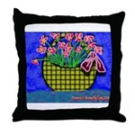 Throw Pillow flowers in basket
