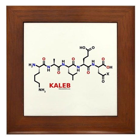 Kaleb name molecule Framed Tile