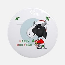 Happy Moo Year Ornament (Round)