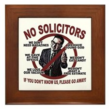 "6"" Wood Framed Ceramic - No Solicitors Sign"