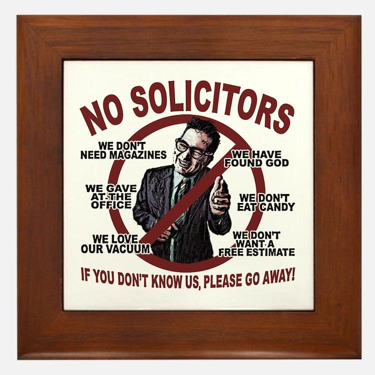 """6"""" Wood Framed Ceramic - No Solicitors Sign"""