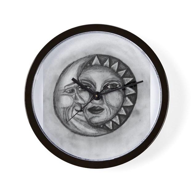 Sun & Moon Drawing Wall Clock by yellowdogphotog