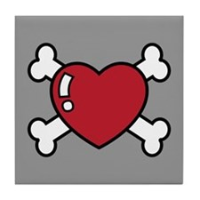 Heart and Crossbones Tile Coaster