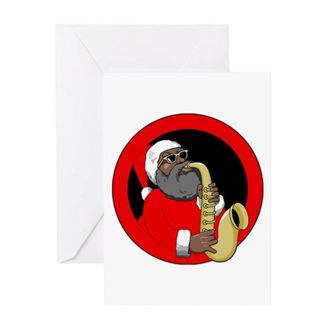 Saxophone Santa Greeting Card