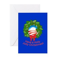 Obama Holly Wreath Happy Christmas Greeting Card