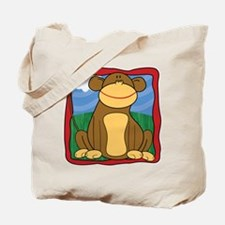 Mischievous Monkey with Border Tote Bag