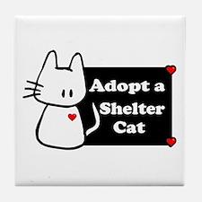 Adopt a Shelter Cat Tile Coaster