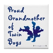 Proud Grandmother of Twin Boys Tile Coaster