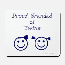 Proud Grandad of Twins - BG smiley Mousepad