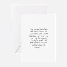 MATTHEW  20:21 Greeting Cards (Pk of 10)