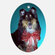 Red Bow Tri-Color Sheltie Oval Ornament