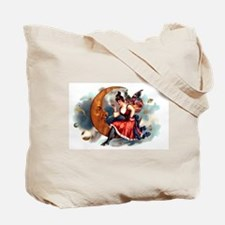 Butterfly Lady on Moon HUGE Canvas Tote Bag