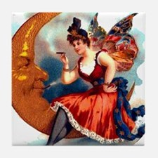 Butterfly Lady on Moon Tile Coaster