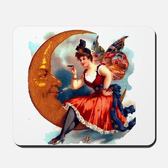Butterfly Lady on Moon Mousepad