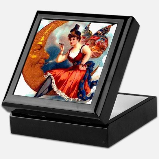 Butterfly Lady on Moon Tile Velvet Lined Gift Box