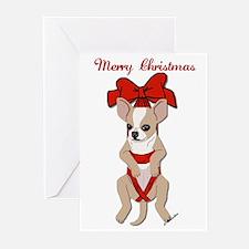 Chihuahua Christmas Ribbon Cards(Pk of 10)