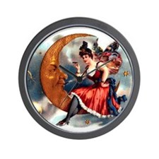 Butterfly Lady on Moon Wall Clock