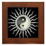 Black Starburst Yin Yang Framed Tile