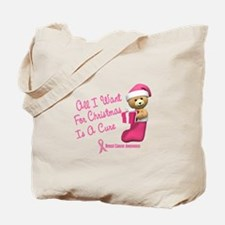 Bear In Stocking 1 (Breast Cancer) Tote Bag