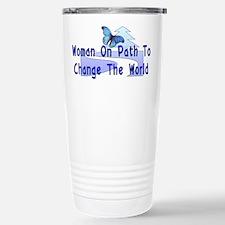 Woman On Path Travel Mug