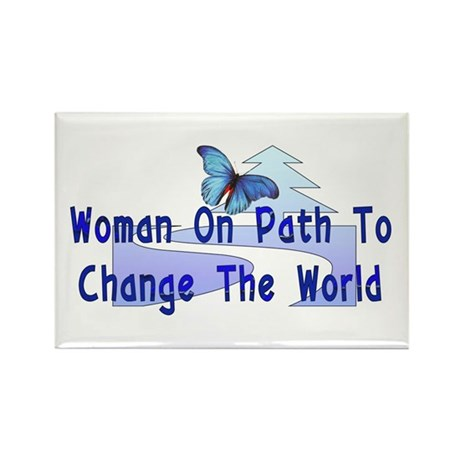 Woman On Path Rectangle Magnet