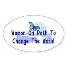 Woman On Path Oval Decal
