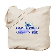 Woman On Path Tote Bag