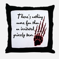 Twilight Irritated Grizzly Bear Throw Pillow