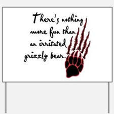Twilight Irritated Grizzly Bear Yard Sign