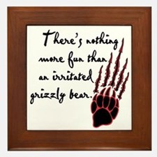 Twilight Irritated Grizzly Bear Framed Tile