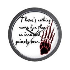 Twilight Irritated Grizzly Bear Wall Clock