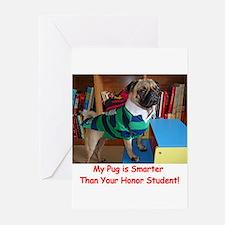 Smart Pug Greeting Cards (Pk of 20)