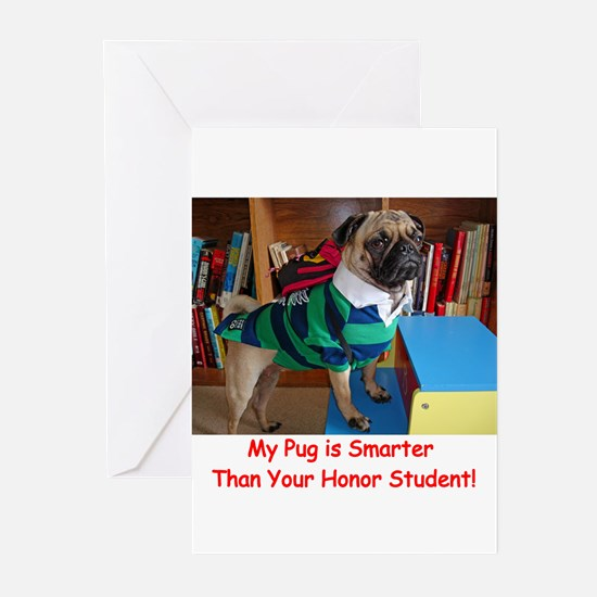 Smart Pug Greeting Cards (Pk of 20)