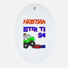 Christian's Monster Truck Oval Ornament