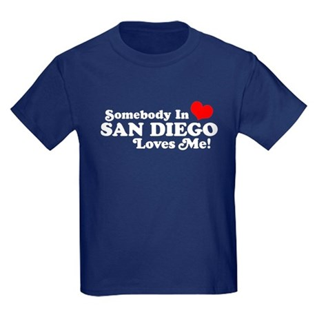 Somebody In San Diego Loves Me Kids Dark T-Shirt