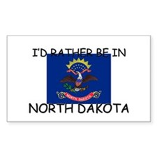I'd rather be in North Dakota Rectangle Decal