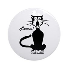 Meowza! 1950's Cartoon Cat Ornament (Round)